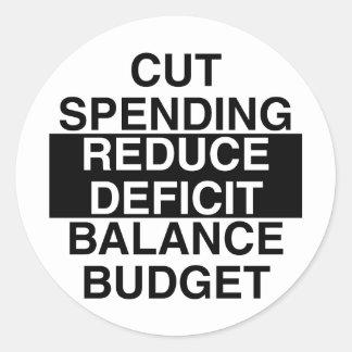 cut spending, reduce deficit, balance budget classic round sticker