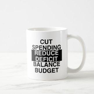 cut spending, reduce deficit, balance budget coffee mug