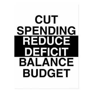 cut spending, reduce deficit, balance budget postcard