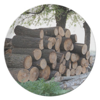 Cut tree trunks piled up for further processing party plates