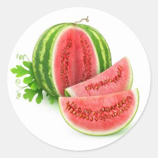 Cut watermelon classic round sticker