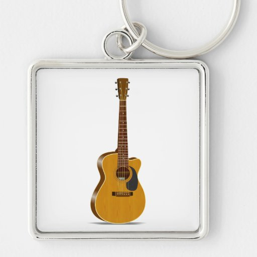 Cutaway Acoustic Guitar Silver-Colored Square Keychain