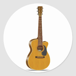 Cutaway Acoustic Guitar Round Sticker