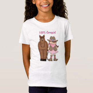 Cute 100% Cowgirl with Brown Hair and Brown Horse T-Shirt