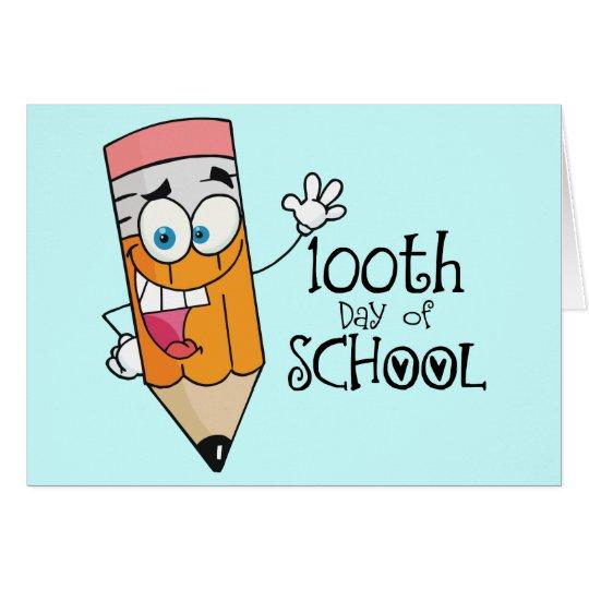 Cute 100th Day Of School Cartoon Gift Card