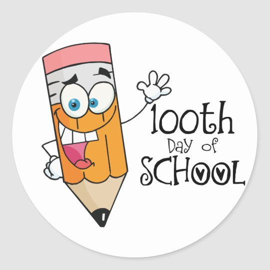 Cute 100th Day Of School Cartoon Gift Classic Round Sticker