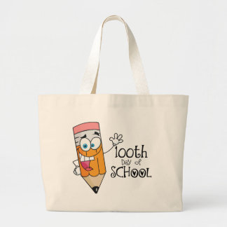 Cute 100th Day Of School Cartoon Gift Large Tote Bag