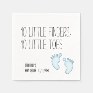 Cute 10 Little Toes Baby Shower Napkins - Blue