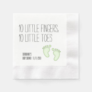 Cute 10 Little Toes Baby Shower Napkins - Green Coined Cocktail Napkin