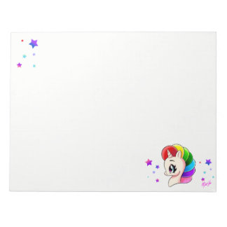 "Cute 11"" x 8.5"" Hand Drawn Unicorn Sketch Notepad"