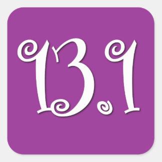 Cute 13.1 purple Runners Square Sticker