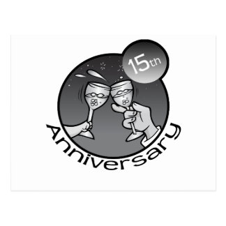 "Cute, ""15th Anniversary"" design Postcard"