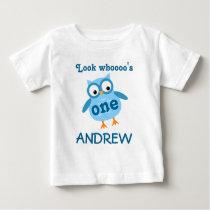 Cute 1st Birthday Boy Owl Blue A01 Baby T-Shirt