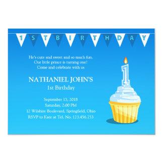 Cute 1st Birthday Cupcake Party - Baby Boy Card