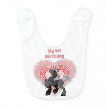 Cute 1st Birthday Grey Pony and Pink Hearts Horse Baby Bib