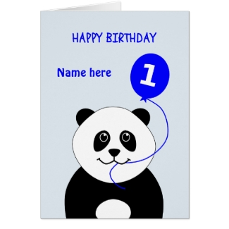 Cute 1st birthday panda add name blue