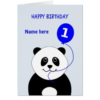 Cute 1st birthday panda add name blue