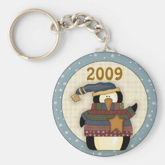 Cute 2009 Penguin Christmas Keychain