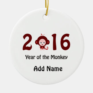 Cute 2016 year of the monkey ceramic ornament