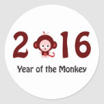 Cute 2016 year of the monkey classic round sticker