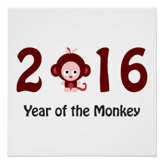 Cute 2016 year of the monkey poster