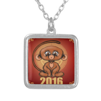 Cute 2016 Year of the Monkey Silver Plated Necklace