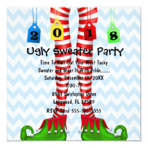 Cute 2018 Elf Stocking Ugly Sweater Party Invite
