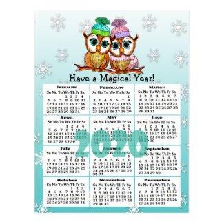 Cute 2020 Whimsical Owls Mini Calendar Postcard
