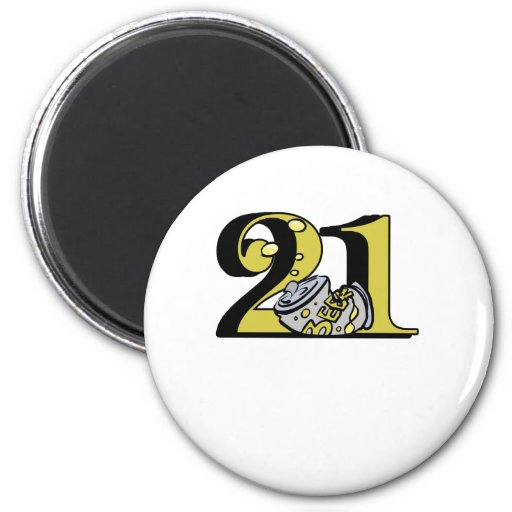 "Cute, ""21"" Beer design 2 Inch Round Magnet"
