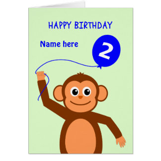 Cute 2nd birthday monkey add name blue card