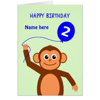 Cute 2nd birthday monkey add name blue card