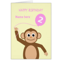Cute 2nd birthday monkey add name pink card