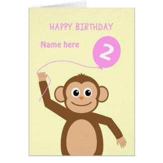 Cute 2nd birthday monkey add name pink card