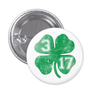 Cute 3/17 St Patrick's Day Shamrock Button