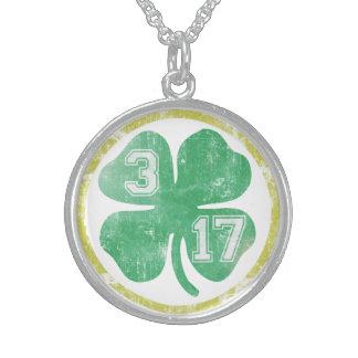 Cute 3 17 St Patricks Day Shamrock Sterling Silver Necklace