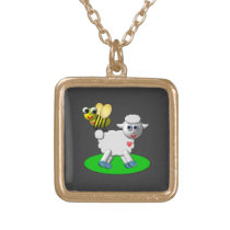 Cute 3-D Look Bee and Lamb Gold Plated Necklace
