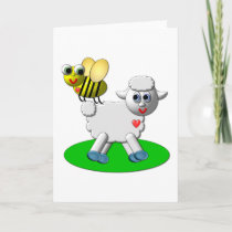 Cute 3-D Look Bee and Lamb Holiday Card