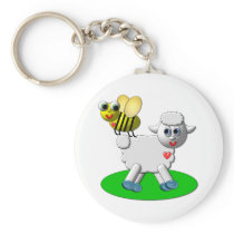 Cute 3-D Look Bee and Lamb Keychain