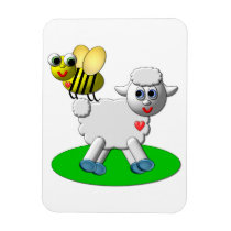 Cute 3-D Look Bee and Lamb Magnet