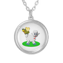 Cute 3-D Look Bee and Lamb Silver Plated Necklace