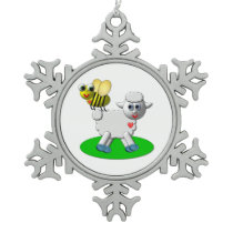 Cute 3-D Look Bee and Lamb Snowflake Pewter Christmas Ornament