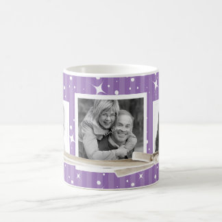 Cute 3 Photos Holiday Twinkles Purple Stripes Coffee Mug