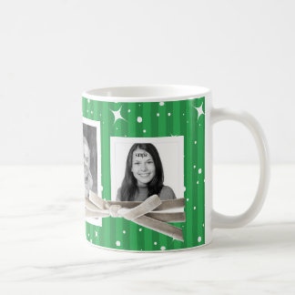 Cute 3 Photos Stripes and Twinkles Holiday Green Mug
