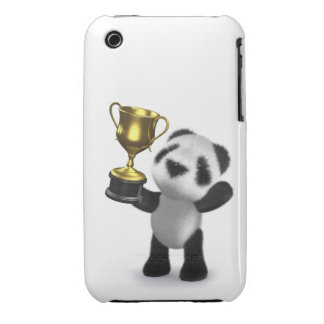 Cute 3d Baby Panda Gold Cup iPhone 3 Case-Mate Cases