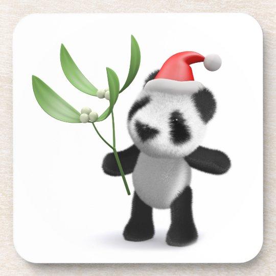 Cute 3d Baby Panda Mistletoe Beverage Coaster