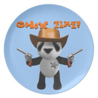 Cute 3d Baby Panda Sheriff - Chow Time! Plate