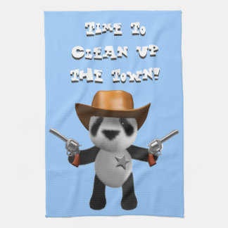 Cute 3d Baby Panda Sheriff - Clean up the Town! Hand Towels