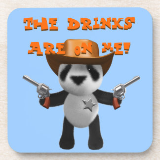Cute 3d Baby Panda Sheriff - Drinks are on me! Beverage Coaster