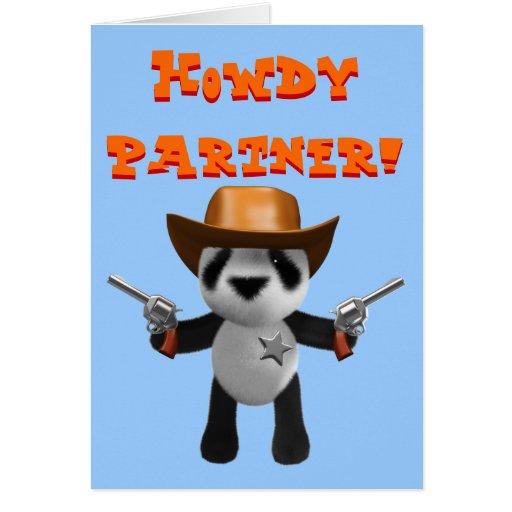 Cute 3d Baby Panda Sheriff Greeting Cards