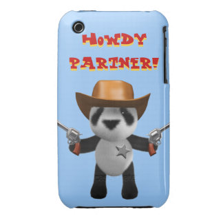 Cute 3d Baby Panda Sheriff - Howdy Partner! iPhone 3 Case-Mate Case